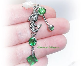 Green Gem Mermaid Navel Ring, Pearl Belly Ring, Nautical Belly Button Ring, Seashell Belly Ring, Beach Boho Belly Ring