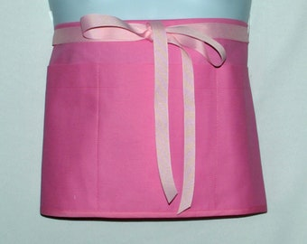 Pink Apron, Waist, Wedding, Dollar Dance, Vendor, Short, Half Money Apron With Pockets, Ready To Ships TODAY, AGFT 1346