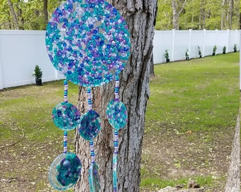 Mother's Day Windchime, Front Door Decor, Mosaic Suncatcher, Beaded Suncatcher, Sun Catcher, Mosaic Art, Hostess Gift, Gardners, Window Swag