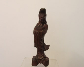 Hand Carved Wooden Sculpture Quan Yin Kwan Yin Goddess of compassion Asian