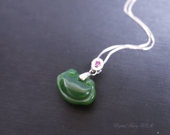 Mini Green Jade Necklace Sterling Silver -  Tiny Green Jade Jewelry,  Emerald Retro Locker Green Jade Pendant  - Jade Jewelry