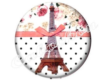 2 cabochons 18mm glass, Paris Eiffel Tower, pink tone