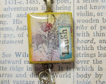 Roses Laugh Carnelian Millefiori Bead Mixed Media Repurposed Scrabble Tile Pendant w/ Chain
