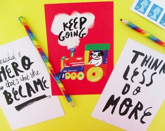 Motivational Postcard Prints Set of Three A6 Inspirational Illustrated Messages