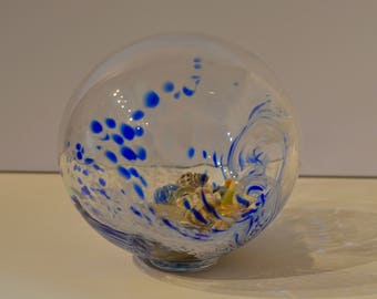 Glass Blown Float w/ Sand and Shells