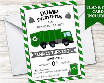 Garbage truck invite etsy garbage truck invite invitation filmwisefo