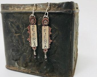 Fierce... Sterling Silver and Copper Earrings