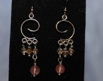 Swirly Crystal Cascade Earrings
