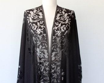 Black lace kimono, boho fringe kimono, summer bohemian kimono cardigan, swimsuit cover up, beach wear, festival clothing gift for her mother