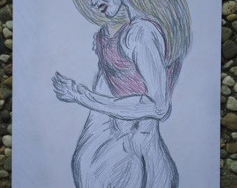 Female nude woman in red top female nude pencil pastel