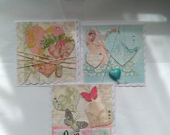 Trio of handmade heart cards