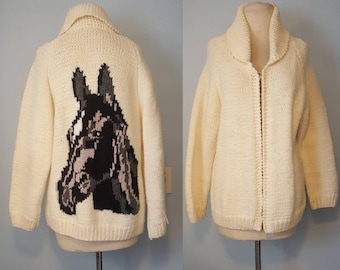 1940s 40s vintage cochiwan knit horse sweater native american