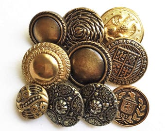 vintage tarnished aged silver and gold tone metal and plastic decorative eco friendly shank buttons---mixed lot of 10