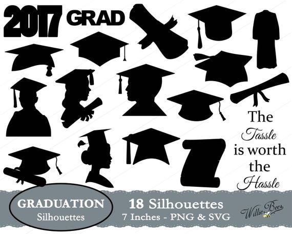 graduation silhouette clip art 7 inches png  u0026 svg files
