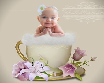 Flower cup digital background backdrop.child newborn photography