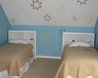 Set of 30 Stars - Wall Decals - Your choice of TWO Colors