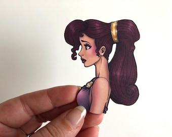 NEW LARGER Princess Profile - Meg - Hercules - Laser Cut Wood Brooch