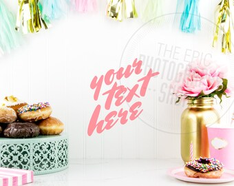 Styled Stock Photography / Pink Flowers, Donuts, Teal Gold Party Decor / Kitchen/ Staged Photography / Product Background / Header / P007