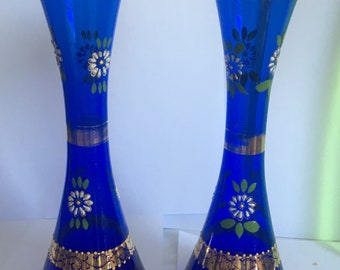 Bright cobalt blue bohemian glass painted with gold and flowers 2 vases