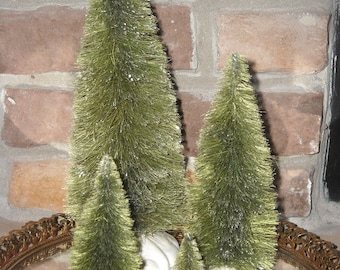 Four Bottle Brush Trees - Hand Dyed in Various Colors