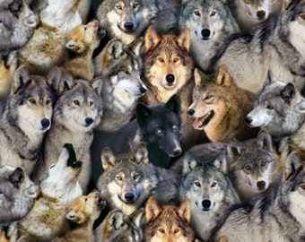 Printed cotton fabric different heads of wolves for Wolf, husky and Indian fans