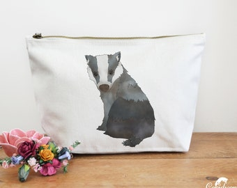Badger Canvas Wash Bag, Large Zipper Pouch, Makeup Bag, Toiletry Bag, Accessory Bag, Badger Gift