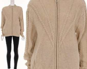 Vintage Irish FISHERMAN Sweater Heather Cream Cableknit Zip Up Cardigan Sweater Jumper MINIMALIST Hand Knit Preppy Sweater