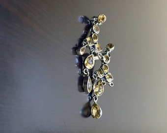 Yellow Citrine Chandelier Earrings - Citrine Drop Earrings - Art Deco Dangling Earrings - Pear Shape Citrine Earrings - Handmade Earrings