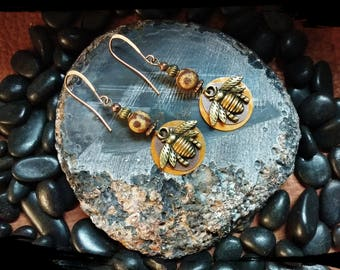 Honey Bee Earrings, Mixed Metal Jewelry, Patina Earrings, Antique Bronze & Copper Honey Bee w/ DZI Agate Gemstone, Insect Jewelry