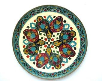 Vintage Decorative Enamel Israel? Floral Wall Decor Traditional design set in brass.