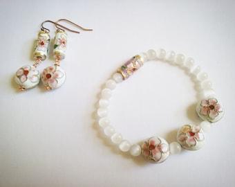 Summery enamel and cat eye set, Sakura