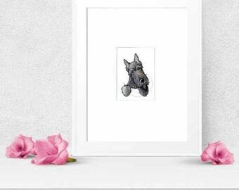 Brindle Scottie Terrier Dog Art Original Drawing ACEO