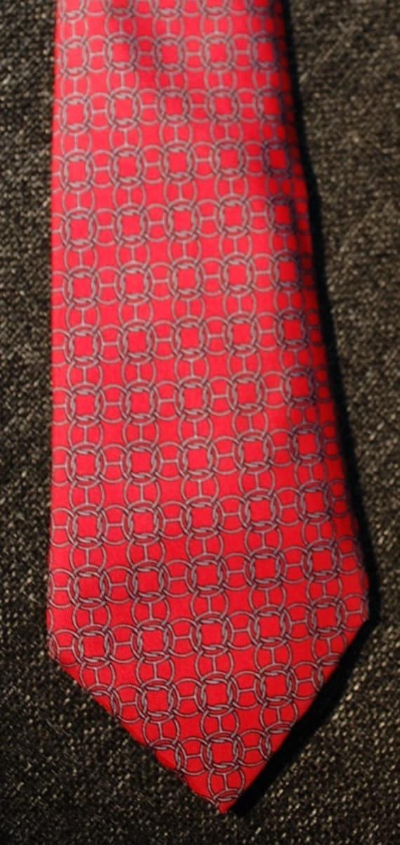 HERMÈS 100% Silk Tie - Red, Blue & Gold Lattice Horse Bits Pattern 991 SA