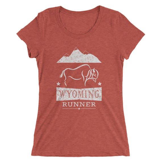 Women's Wyoming Runner Triblend T-Shirt - Run Wyoming - Women's Short Sleeve Running Shirt