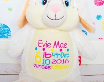 Personalised White Bunny, bunny rabbit, baby boy, baby girl, cubbies, teddy bear, soft toy