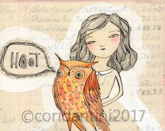 Original Watercolor woman with owl, good sense of humor ON SALE