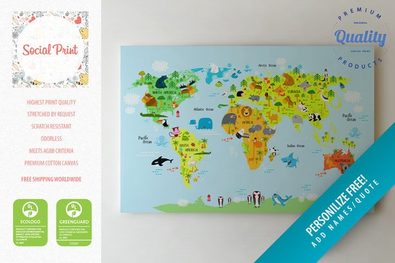 Animal world map canvas print free shipping for kids and like this item gumiabroncs Image collections
