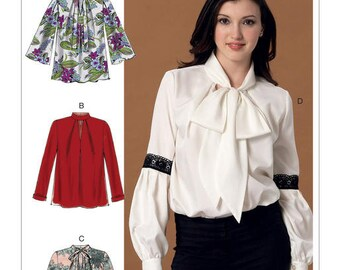 McCall's Sewing Pattern M7436 Misses' Notch-Neck Tops with Sleeve and Neckband Variations