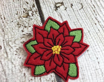"2"" Poinsettia Feltie/Clippie Design - 4 x 4 and 5 x 7 DIGITAL Embroidery DESIGN"