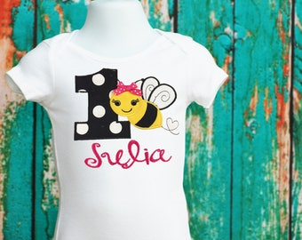 Bee 1st Birthday Bodysuit, First Bee Day,  Bumble Bee