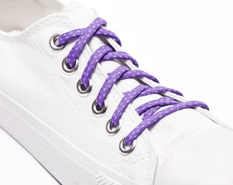 Shoelaces - Purple Polka Dots - Shoe Laces - Great on Converse - Custom Shoelace - Wedding - Groomsmen - Shoelace Swap