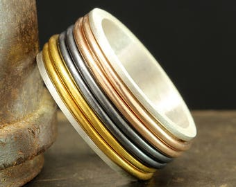 Spinner Ring, Spinner Band, Spinning Wedding Band, 925 Solid Sterling Silver 24K Yellow Gold, 18K Rose Gold Vermeil & Oxidized Stress Ring