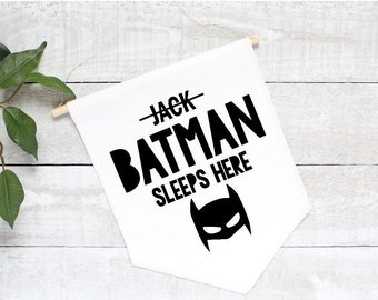 Canvas wall banner, banner flag,nursery wall hanging, personalized batman banner