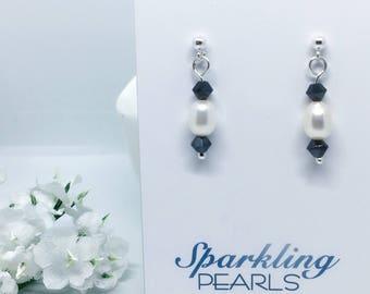 Monochrome Swarovski Earrings, Pearls, Ivory, Sterling Silver Jewellery, Black, Minimal