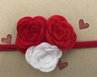 Red and White Rose Valentine's Day Headband