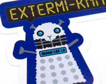Vinyl Sticker Dr Who, Extermi-knit, vinyl laptop sticker