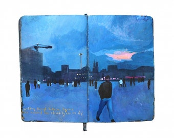 "Fine Art Print - Original Istanbul Cityscape Painting from Artist Travel Journal - ""Taksim Square Twilight"""