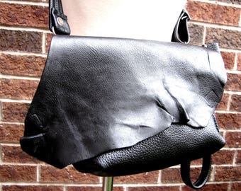 Black leather fanny pack , waist bag, hand-free pouch, small leather messenger, envelope bag, leather clutch and wristlet, leather wrist bag