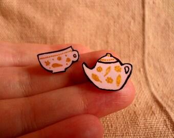 Tea Brooch Set, Tea Jewelry, Tea lover, Tea Gifts, Cute tea pin, Teacup Pin, Kettle Pin, Kettle Brooch, Teacup brooch, Tea lover gift
