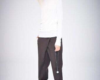 Drape Off-White Turtleneck/ Arya Long Sleeved Top / Asymmetrical Off-White Top / Handmade Off-White Top/ Casual Top by AryaSense/ TPL14WH
